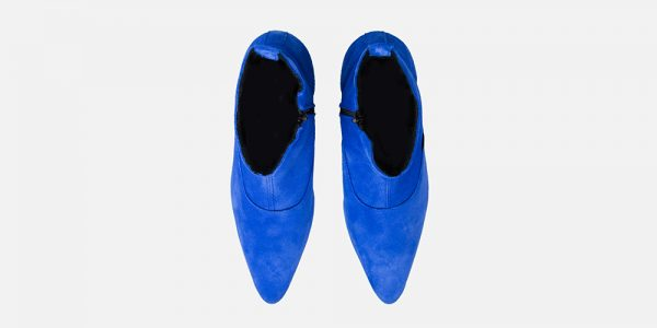 Underground England Marlon Winklepicker royal blue suede boot with zip for men and women