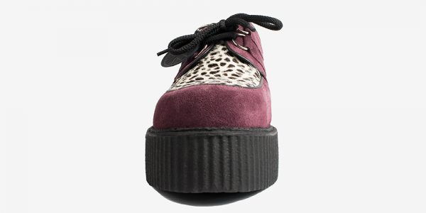 Underground Original Wulfrun Creeper burgundy suede leather with leopard print pony hair shoe for men and women