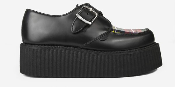 Underground Original King Tut Creeper Black leather and white stewart tartan apron buckle shoe for men and women