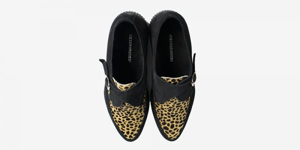 Underground Original Apollo Creeper black suede and natural leopard print pony hair buckle shoe for men and women