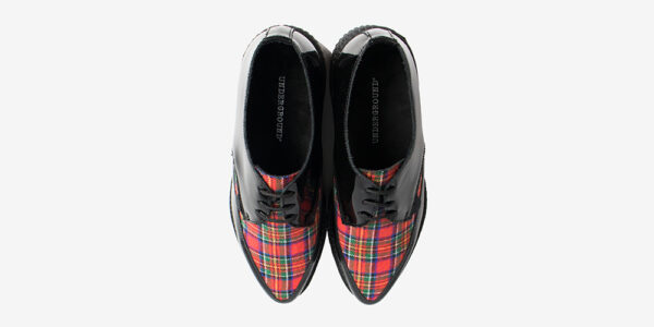 Underground Original barfly Creeper black patent leather and stewart red tartan for men and women