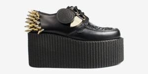 Underground Original Wulfrun Creeper black leather shoe with nickel and gold spikes for men and women