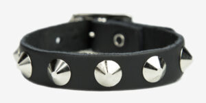UNDERGROUND WRISTBAND – BLACK LEATHER – 1 ROW NICKEL CONICAL STUDS ACCESSORIES FOR MEN AND WOMEN