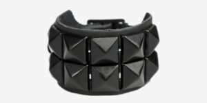 UNDERGROUND WRISTBAND – BLACK LEATHER – 2 ROW BLACK PYRAMID STUDS ACCESSORIES FOR MEN AND WOMEN
