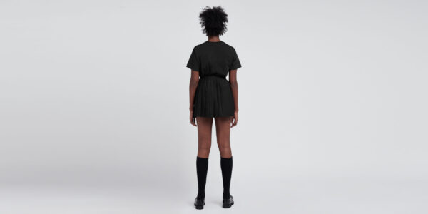 Underground England Authentic pleated mono mini skirt black and houndstooth with patches for men and women
