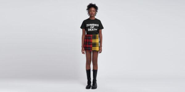 Underground England Barrowland pleated mini skirt in mixed tartan for men and women