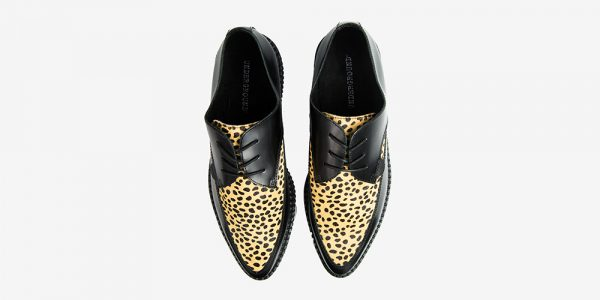 Underground Original Barfly Creeper black leather with natural leopard print pony hair shoe for men and women