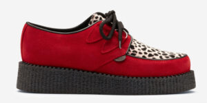 Underground Original Wulfrun Creeper Red suede with black and white leopard print pony hairshoe for men and women