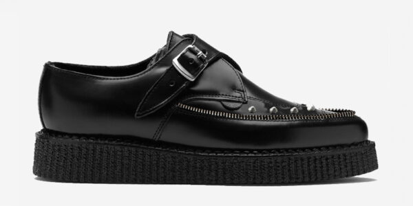 Underground Original Apollo Creeper black leather and nickel studs buckle shoe for men and women