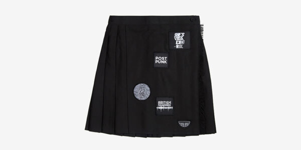 Underground England Authentic pleated mono mini skirt with patches for men and women