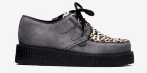 Underground Original Wulfrun Creeper grey suede and leopard print pony hair shoe for men and women