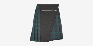 Underground England Authentic Tontin pleated midi skirt black watch tartan with zip for men and women
