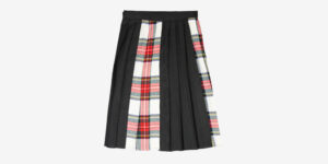 Underground England Authentic Trongate pleated midi skirt black and white stewart tartan for men and women