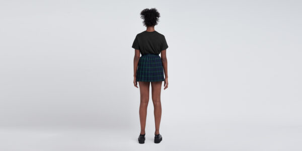 Underground England Authentic Black and black watch tartan pleated mono mini skirt for men and women