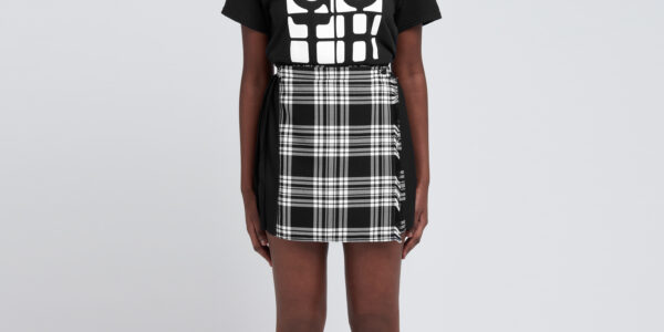 Underground England Authentic Black and Menzies tartan pleated mono mini skirt for men and women