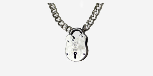 UNDERGROUND LIVE FAST AND DIE PADLOCK – NICKEL JEWELLERY ACCESSORIES FOR MEN AND WOMEN