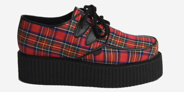 Underground Original Wulfrun Creeper royal red stewart Tartan shoe for men and women