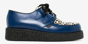 Underground Original Wulfrun Creeper royal blue leather and leopard pony hair shoe for men and women
