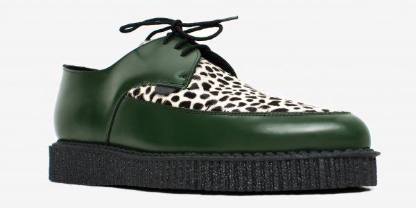 Underground Original Barfly Creeper green leather with leopard print pony hair shoe for men and women