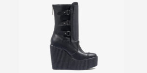 Underground Original Buckle Creeper boot black tumbled leather wedge with zip for men and women