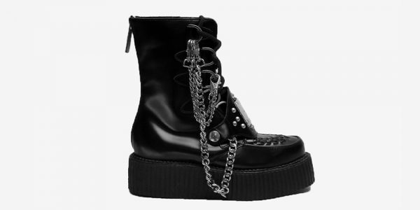 Underground Original Wulfrun Creeper black leather with chains and hardware boot for men and women