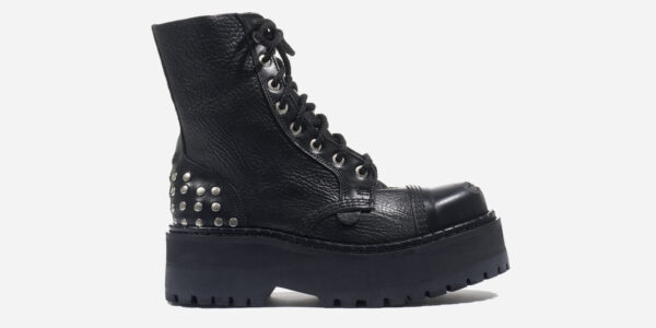 STORMER 8 EYELET STEEL CAP BOOT – BLACK TUMBLED LEATHER WITH BUFFED TOE AND STUDS – CUSTOM MADE