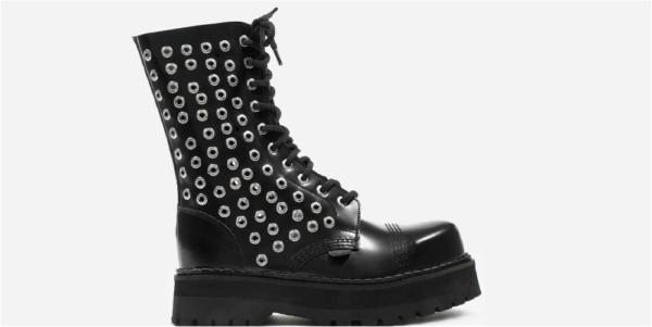 Underground Original Steel Cap Commando Black leather with rivets combat boot for men and women