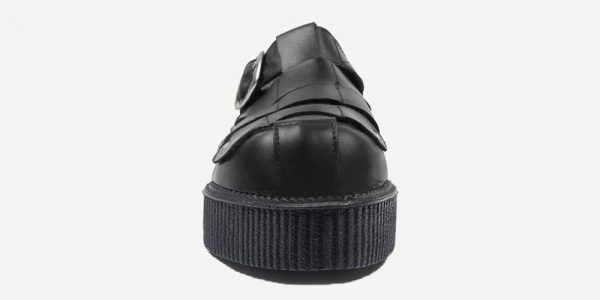 Underground Original Creeper black grain leather sandal with strap for men and women