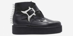 Underground Original Apollo creeper black leather with horn buckle and spikes boot for men and women