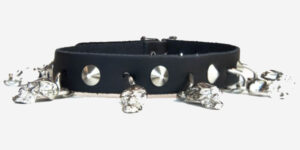 UNDERGROUND NECKBAND – BLACK LEATHER – NICKEL CONICAL STUDS AND SKULLS ACCESSORIES FOR MEN AND WOMEN
