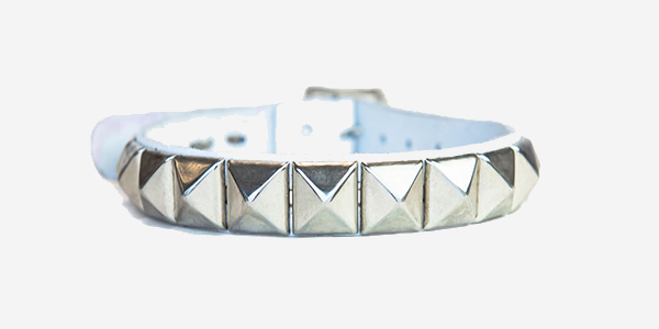 UNDERGROUND NECKBAND – WHITE LEATHER – 1 ROW NICKEL PYRAMID STUDS ACCESSORIES FOR MEN AND WOMEN