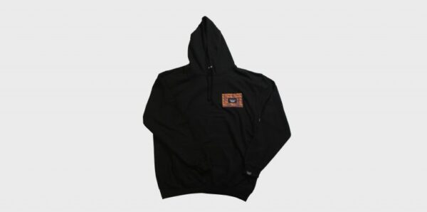 Underground England Resistance orange and black screen printed pull over hoodie with patches for men and women