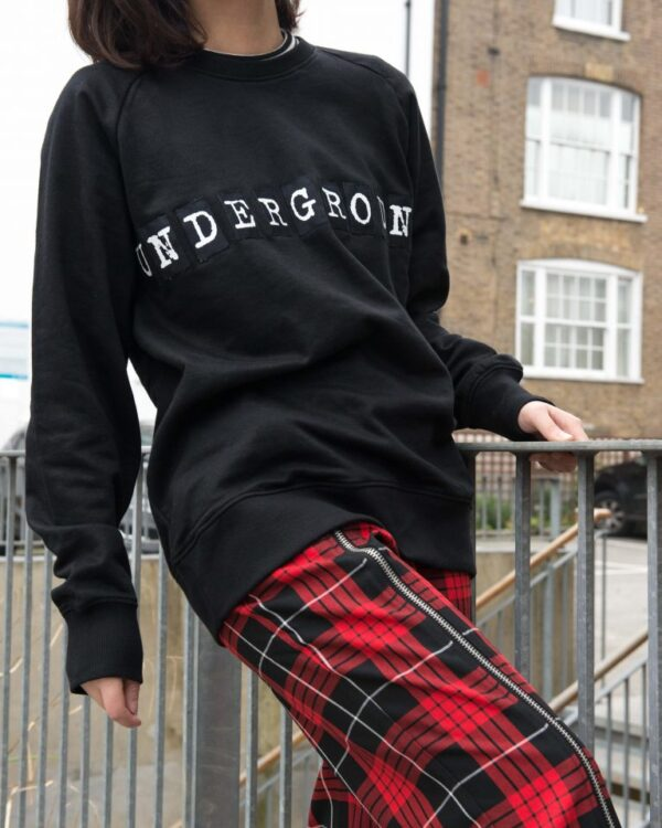 Underground England black and white sweatshirt with patch logo for men and women