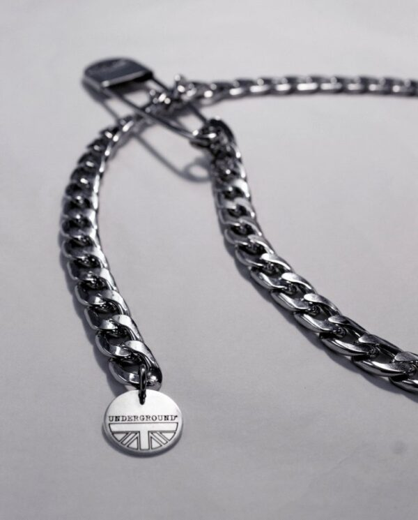 UNDERGROUND CHAIN AND SAFETY PIN – NICKEL JEWELLERY ACCESSORIES FOR MEN AND WOMEN
