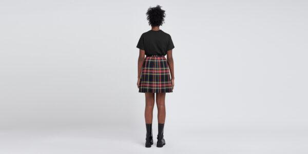Underground England Authentic Sub Club pleated midi skirt black stewart tartan for men and women