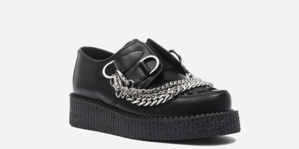 UNDERGROUND ORIGINAL WULFRUN CREEPER – BLACK LEATHER WITH HEAVY CHAIN – SHOES FOR MEN AND WOMEN