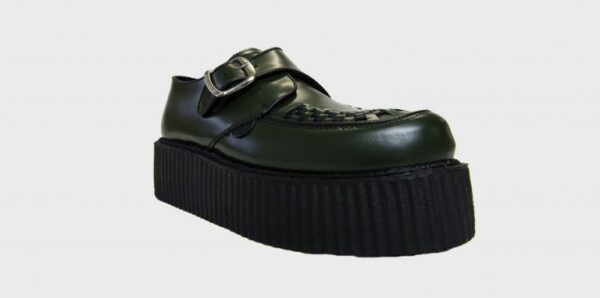 Underground Original King Tut Creeper green leather buckle shoe for men and women