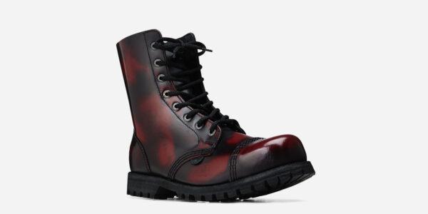 Underground Original Steel Cap Stormer Burgundy Rub-off leather combat boot for men and women