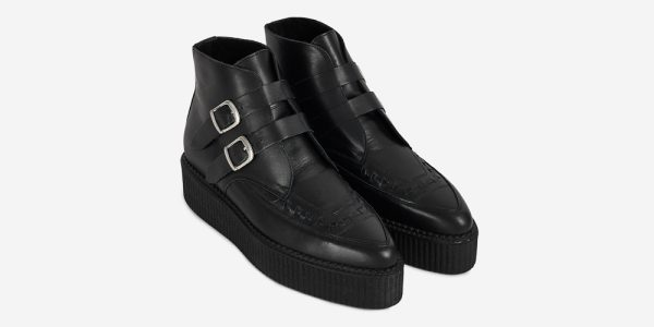 Underground Original Bowie Creeper black grain leather boot with plain buckles for men and women