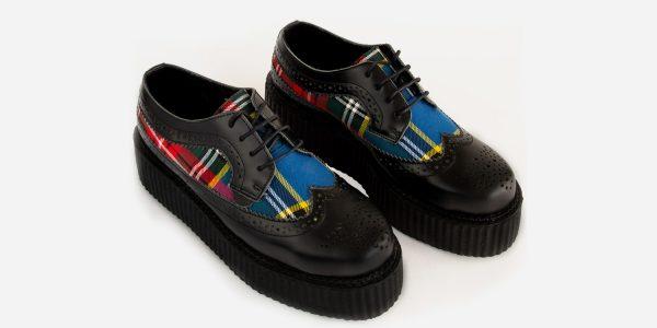 Underground England Macbeth brogue black leather and macbeth tartan shoe for men and women