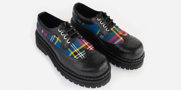 Underground England Original Tracker brogue steel toe cap black leather and Macbeth tartan with shoe for men and women