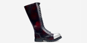 Underground Original external Steel Cap Gripper rub-off burgundy leather knee length combat boot for men and women