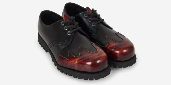 Underground Original Steel Cap tracker Black leather and rub-off sunburst shoe for men and women