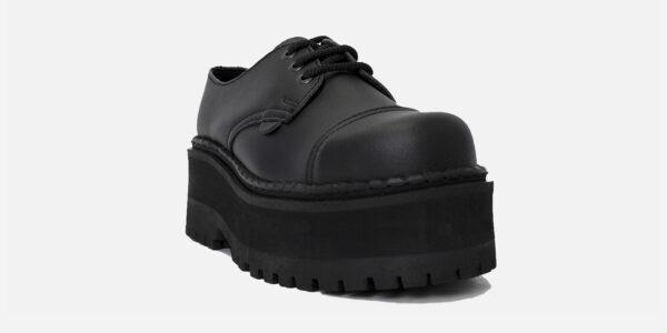 Underground Original Tracker black vegan friendly leather steel toe cap shoe with three eyelets for men and women