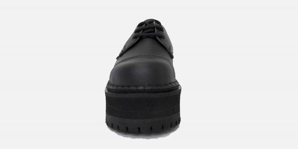 Underground Original Tracker black vegan friendly leather steel toe cap shoe with three eyelets for men and womenVEGAN FRIENDLY STEEL CAP TRACKER SHOE WITH TRIPLE SOLE