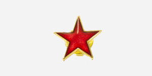 Underground England red and gold star enamel metal pin badge
