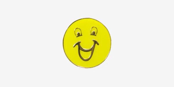 BE HAPPY ENAMEL BADGE-YELLOW/ METAL PIN BADGE