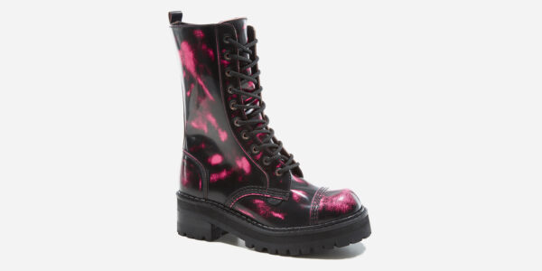 UNDERGROUND LEX CHUNKY BOOT – FUCHSIA RUB-OFF LEATHER – CUSTOM MADE COMBAT BOOTS FOR MEN AND WOMEN