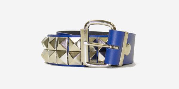 Blue Leather Stud Belt