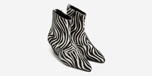 Underground England Marlon Winklepicker black and white pony hair boot with zip for men and women